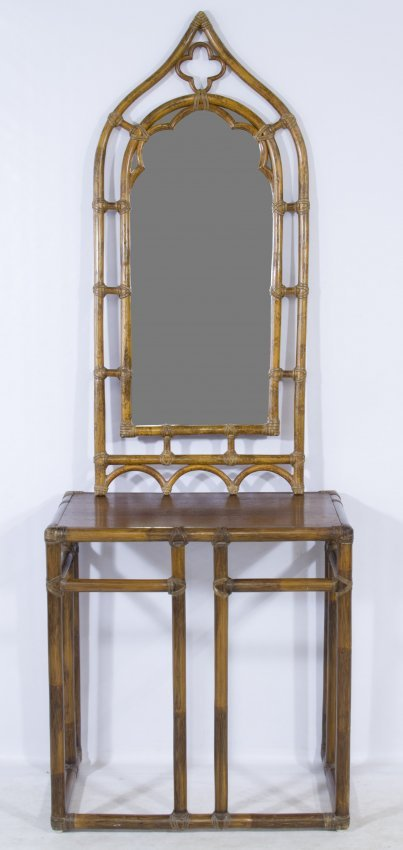 Foyer Mirror Height : Rattan foyer table and mirror by mcguire lot