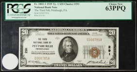 1929 $20 National Bank Note 63 Ppq Pcgs