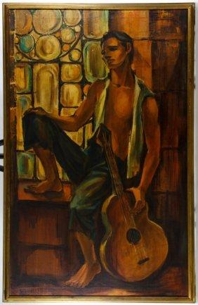 George Michaud (american, 1929-1970) 'balladeer' Oil On