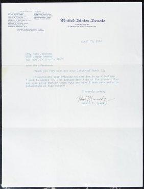 Senator Robert F. Kennedy Signed Letter