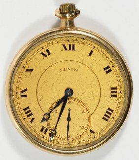 Illinois 14k Gold Open Face Pocket Watch
