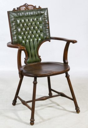Victorian Oak And Leather Arm Chair
