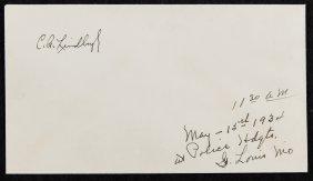 Charles Lindbergh (american, 1902-1974) Signed Envelope
