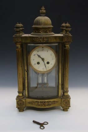French Style Brass And Glass Mantle Clock