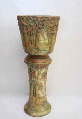 Weller Pedestal And Jardiniere