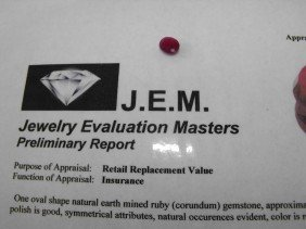 1.5 Ct. Earth Mined Ruby- $ 900 GG GIA