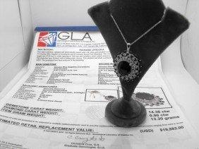 14.36 Ct. Sapph. & Diamond Pendant $ 19K