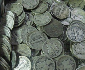 Lot Of (500) Mercury Dimes - 90% Silver