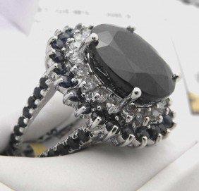 Fine 16.26 Ct. Sapphire & Diamond Ring $ 12K App.