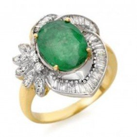 4.2 Ctw Emerald & Diamond Ring 14K