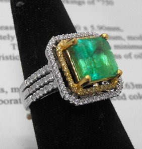 $18,200 Appraised Emerald Ring 18k & 22k