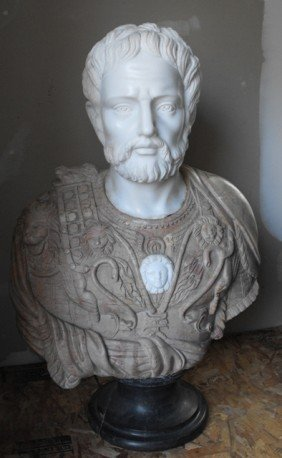 Large Hand Carved Solid Marble Roman Bust