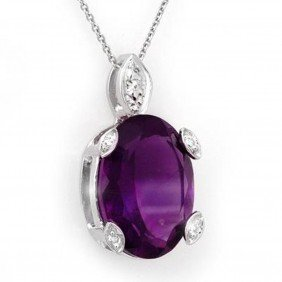 Genuine 10.10 Ctw Amethyst & Diamond Necklace 14K G