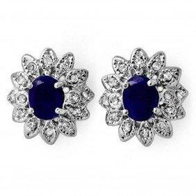 Genuine 3.0ct Sapphire & Diamond Stud Earrings 14K