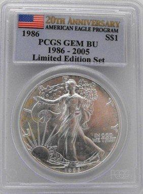 1986 GEM BU 20th Anniv. PCGS Silver Eagle