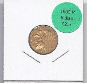 1909 P $ 2.5 Gold Indian