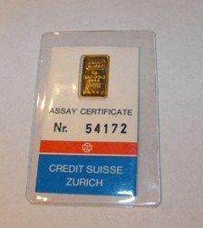 1 Gram Credit Suisse Gold Ingot 999.9 Pure
