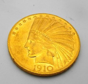 1910 P $ 10 Gold Indian Coin