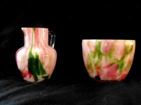 Art Glass Creamer And Open Sugar