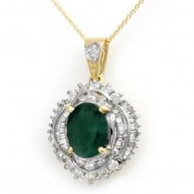 5.35 Ctw Emerald & Diamond Pendant