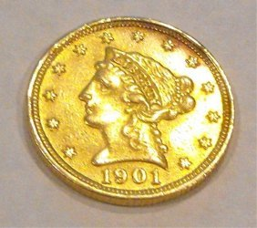 1901 P $ 2.5 Gold Liberty Coin