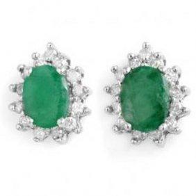 3.85 Ctw Emerald & Diamond Earrings