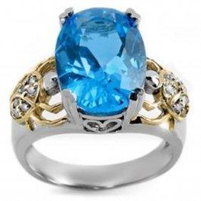 8.20 Ctw Blue Topaz & Diamond Ring