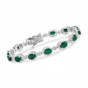 9.10 Ct. T.w. Emerald Bracelet In Sterling Silver I