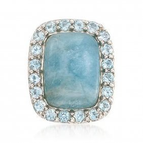 Milky Aquamarine And 2.60 Ct. T.w. Blue Topaz Ring