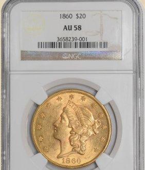 1860 $20 Liberty AU58 NGC 924811-05