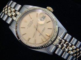 Rolex 2 Tone- Ss/ Gold Datejust/date Man's Watch