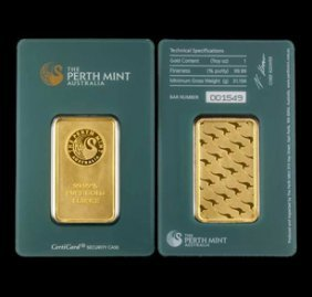 1 Oz Perth Gold Bar On Assay Card Pure .9999