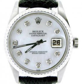 Rolex Ss Datejust Watch White Mop Dial