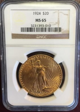 1924 Ms 65 Ngc $ 20 Gold Saint Gauden's