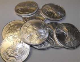 (10) Us Silver Eagles Random Dates
