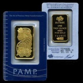Pamp Suisse Or Other .9999 1 Oz Pure Gold Ingot
