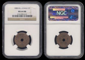 Congo Free State 2 Cents 1888 NGC MS64RB