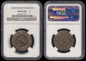 France 10 Centimes 1855B NGC MS62RB