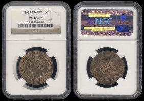 France 10 Centimes 1865A NGC MS63RB