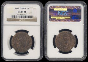 France 10 Centimes 1864K NGC MS64RB