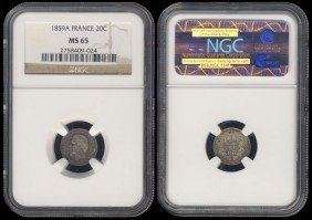 France 20 Centimes 1859A NGC MS65