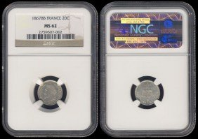 France 20 Centimes 1867BB NGC MS62
