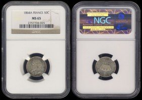 France 50 Centimes 1864A NGC MS65