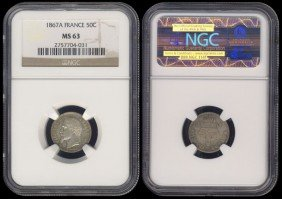 France 50 Centimes 1867A NGC MS63