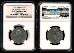 Brunei  50 Cents 1967 Error NGC AU55