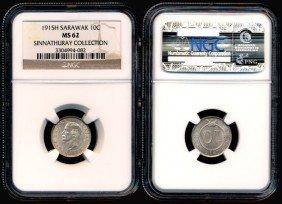 Sarawak C Brooke 10 Cents 1915H NGC MS62