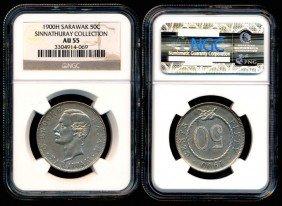 Sarawak C Brooke 50 Cents 1900H NGC AU55