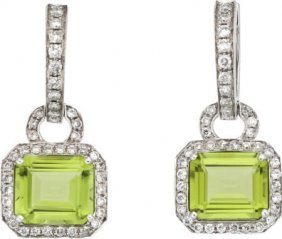 Peridot, Diamond, White Gold Earrings