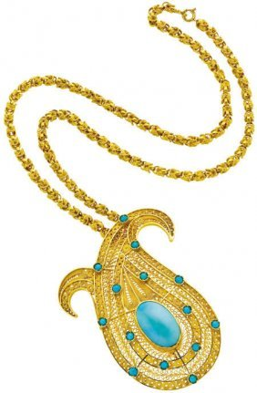 Turquoise, Gold Pendant-Brooch Necklace