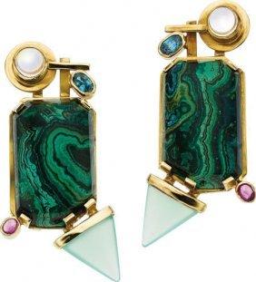 Multi-Stone, Gold Earrings, Michael Sherman